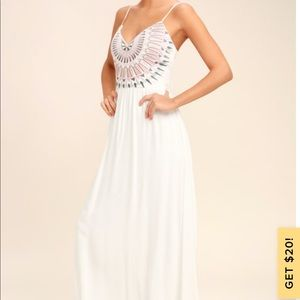 Ascension Island White Embroidered Maxi Dress!